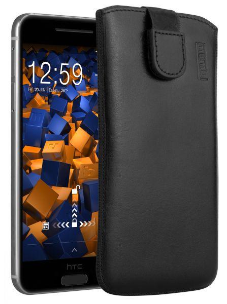 Leder Etui Tasche mit Ausziehlasche schwarz für HTC One A9