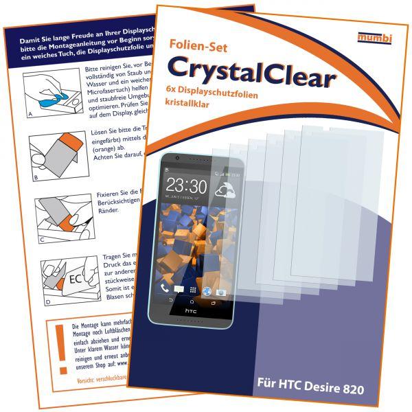 Displayschutzfolie 6 Stck. CrystalClear für HTC Desire 820