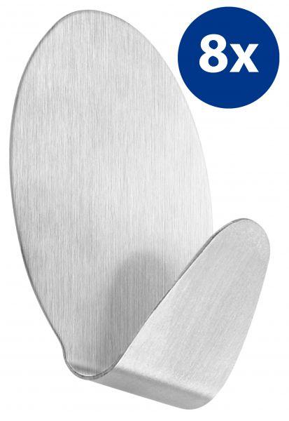 8er Set selbstklebende Handtuchhaken oval aus Edelstahl