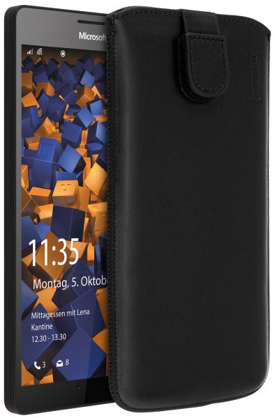 Leder Etui Tasche mit Ausziehlasche schwarz für Microsoft Lumia 950 XL