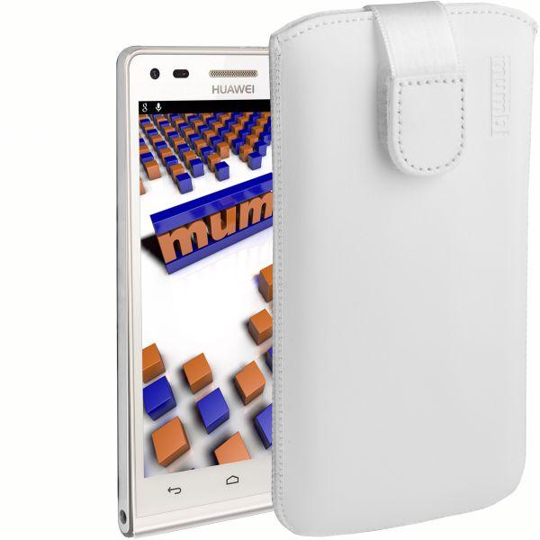 Leder Etui Tasche mit Ausziehlasche weiß für Huawei Ascend P7 Mini