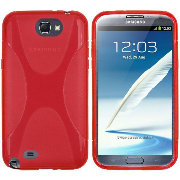 TPU Hülle X-Design transparent rot für Samsung Galaxy Note 2