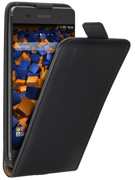 Flip Case Ledertasche schwarz für Sony Xperia XA