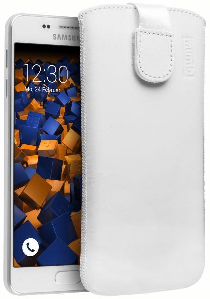 Leder Etui Tasche mit Ausziehlasche weiß für Samsung Galaxy A3 (2016)