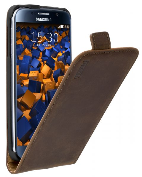 Flip Case Ledertasche braun für Samsung Galaxy S6 / S6 Duos
