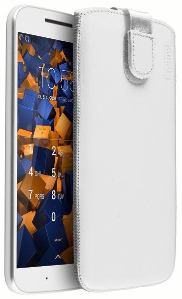Leder Etui Tasche mit Ausziehlasche weiß für Motorola Moto G4 / G4 Plus