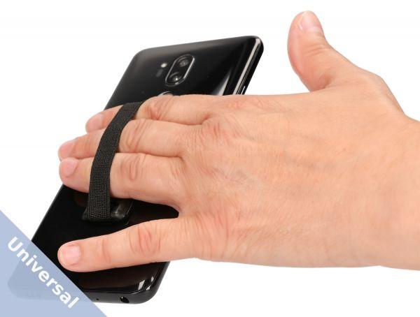 Universal Smartphone Fingerhalter mit Gummiband in Schwarz