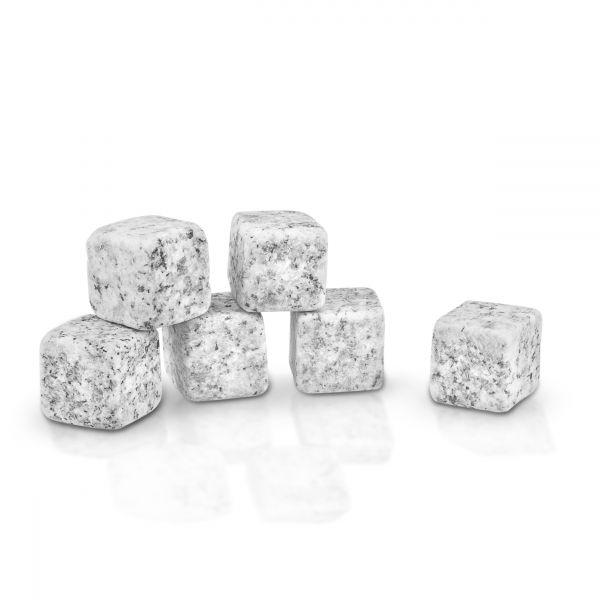Whisky Kühlsteine aus Granit graumeliert (6er Set im Beutel)