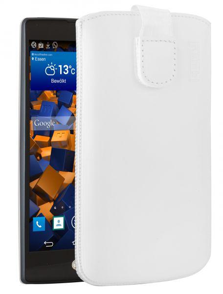 Leder Etui Tasche mit Ausziehlasche weiß für LG Spirit 4G