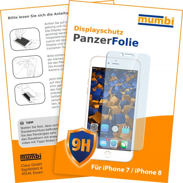Panzerglasfolie Hartglas 9H für Apple iPhone 8 / 7