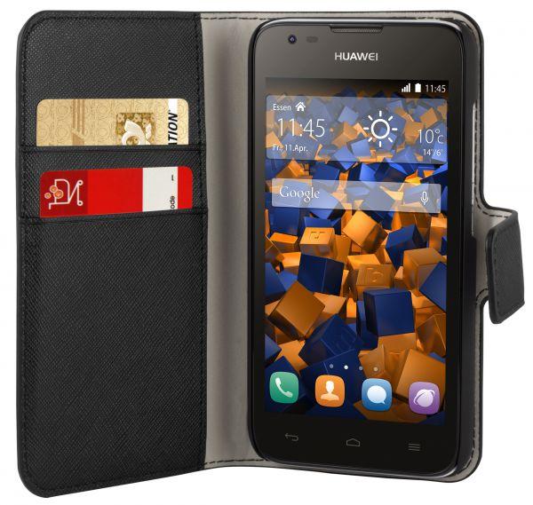 Bookstyle Tasche schwarz für Huawei Ascend Y550