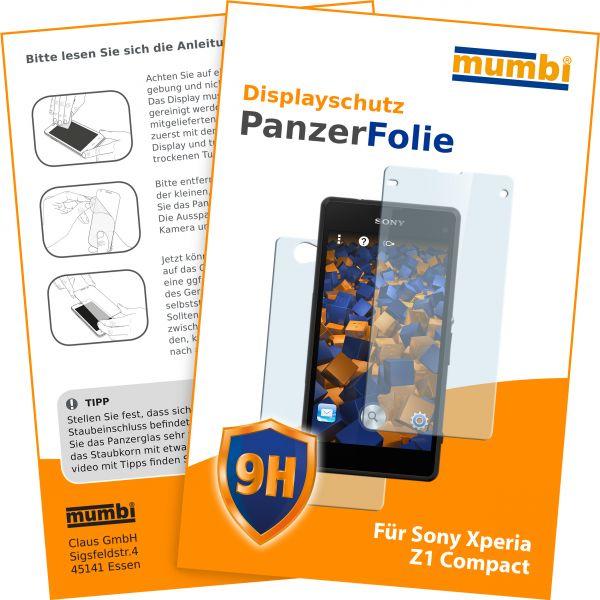 Panzerglasfolie Hartglas 9H 2Stck. für Sony Xperia Z1 Compact (Vorder- und Rückseite)