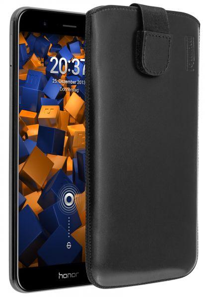 Leder Etui Tasche mit Ausziehlasche schwarz für Huawei Honor 8 Pro