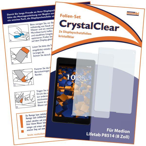 Displayschutzfolie 2 Stck. CrystalClear für Medion Lifetab P8514