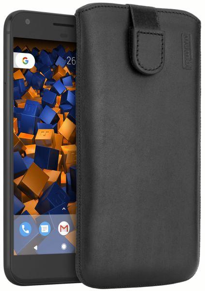 Leder Etui Tasche mit Ausziehlasche schwarz für Google Pixel XL