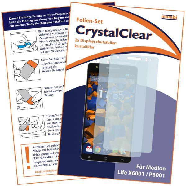 Displayschutzfolie 2 Stck. CrystalClear für Medion Life X6001 / P6001