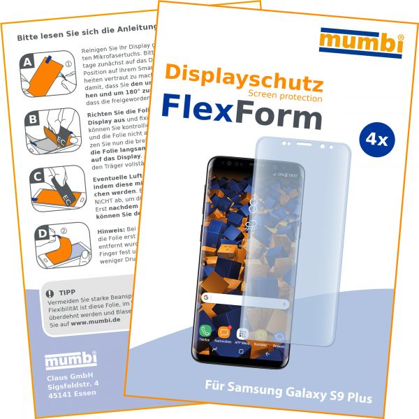 Displayschutzfolie 4 Stck. FlexForm für Samsung Galaxy S9 Plus