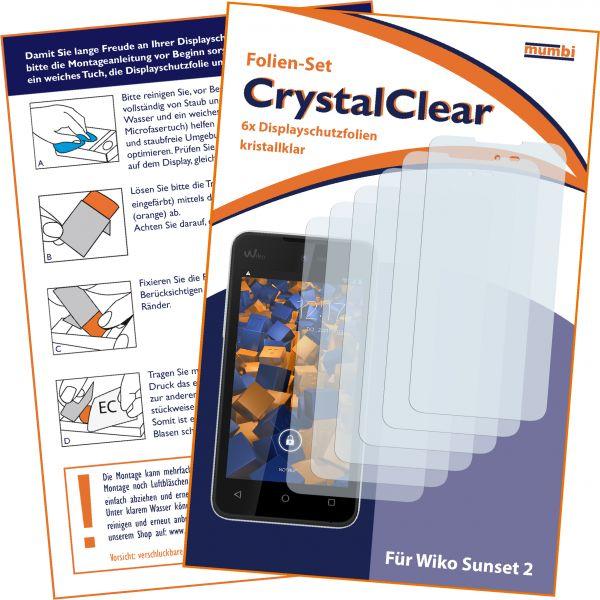 Displayschutzfolie 6 Stck. CrystalClear für Wiko Sunset 2