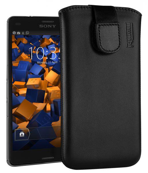 Leder Etui Tasche mit Ausziehlasche schwarz für Sony Xperia Z3 Compact
