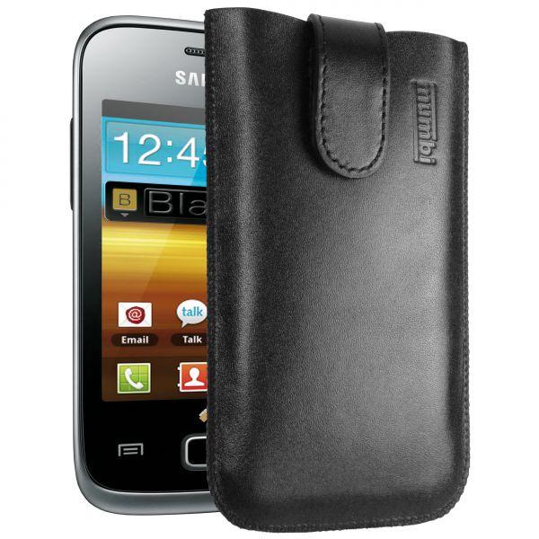 Leder Etui Tasche mit Ausziehlasche schwarz für Samsung Galaxy Y Duos