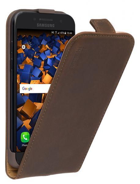 Flip Case Ledertasche braun für Samsung Galaxy A3 (2017)