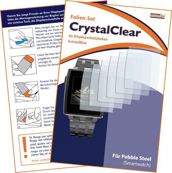 Displayschutzfolie 6 Stck. CrystalClear für Pebble Steel Smartwatch