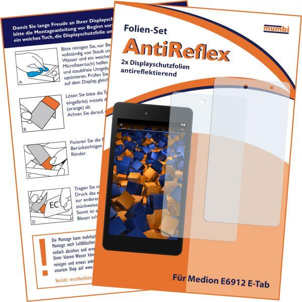 Displayschutzfolie 2 Stck. AntiReflex für Medion E6912 E-Tab