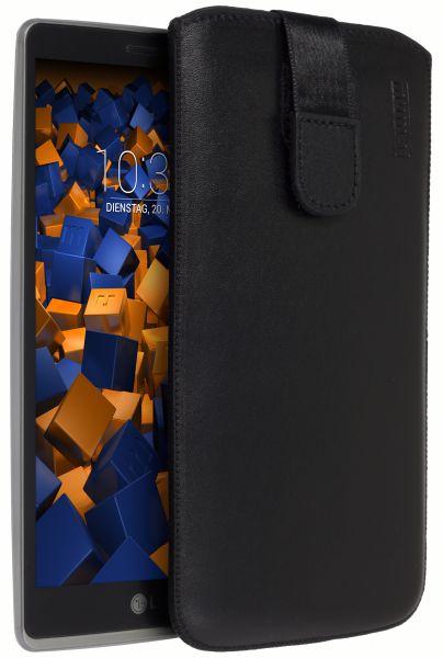 Leder Etui Tasche mit Ausziehlasche schwarz für LG G4 Stylus