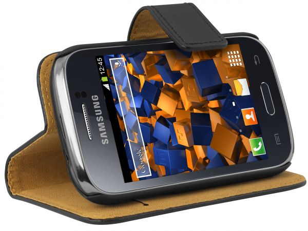 Bookstyle Ledertasche schwarz für Samsung Galaxy Young / Young Duos