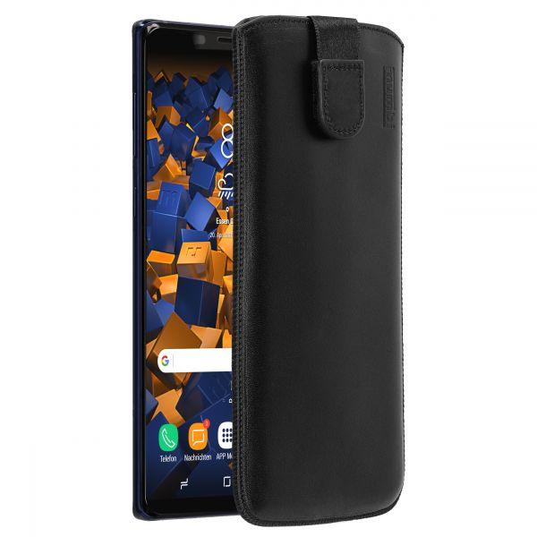 Leder Etui Tasche mit Ausziehlasche schwarz für Samsung Galaxy Note 9