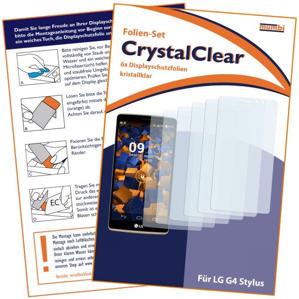 Displayschutzfolie 6 Stck. CrystalClear für LG G4 Stylus