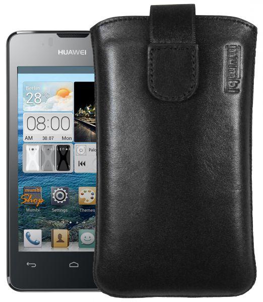 Leder Etui Tasche mit Ausziehlasche schwarz für Huawei Ascend Y300