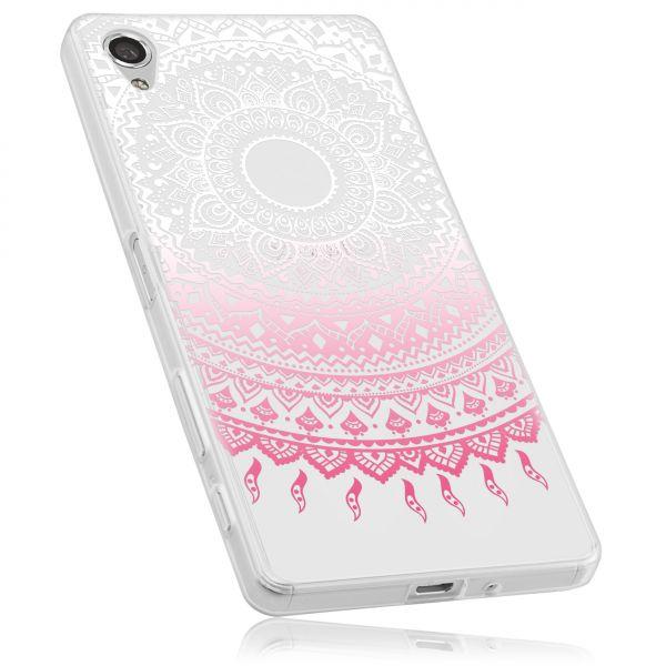 TPU Hülle rosa transparent Motiv Mandala für Sony Xperia X