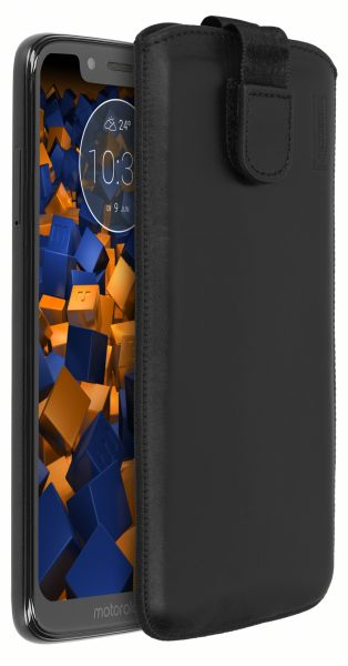 Leder Etui Tasche mit Ausziehlasche schwarz für Motorola Moto G7 Play