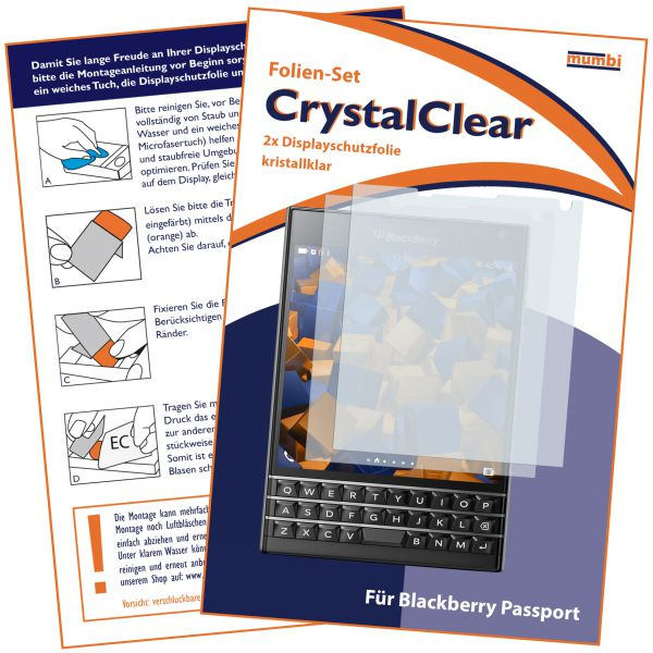 Displayschutzfolie 2 Stck. CrystalClear für Blackberry Passport