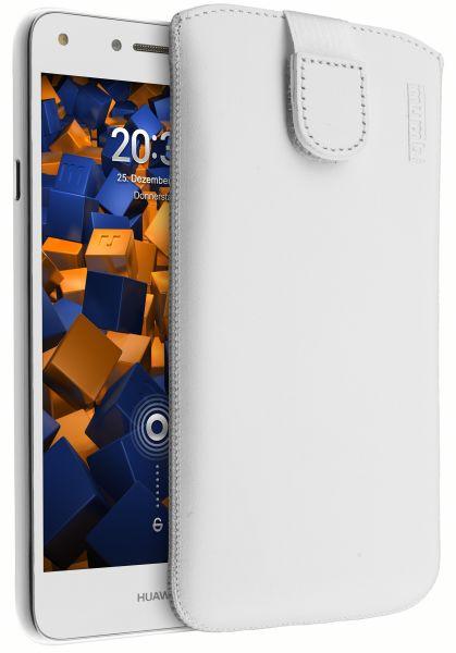 Leder Etui Tasche mit Ausziehlasche weiß für Huawei Y5 II