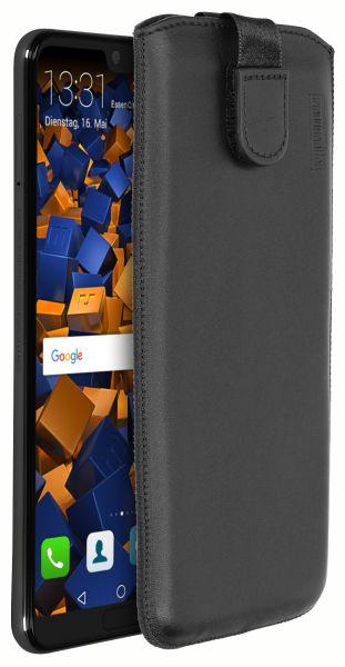 Leder Etui Tasche mit Ausziehlasche schwarz für Huawei P20 Pro