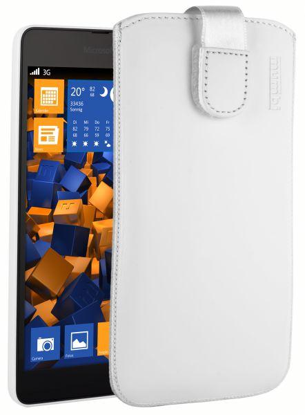 Leder Etui Tasche mit Ausziehlasche weiß für Microsoft Lumia 535