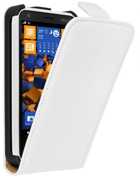 Flip Case Ledertasche weiß für Nokia Lumia 620