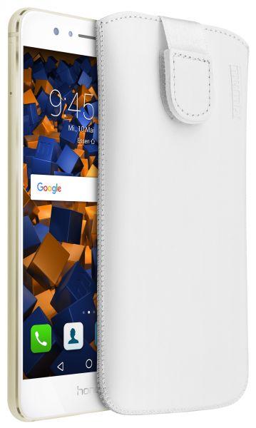 Leder Etui Tasche mit Ausziehlasche weiß für Huawei Honor 8 Pro
