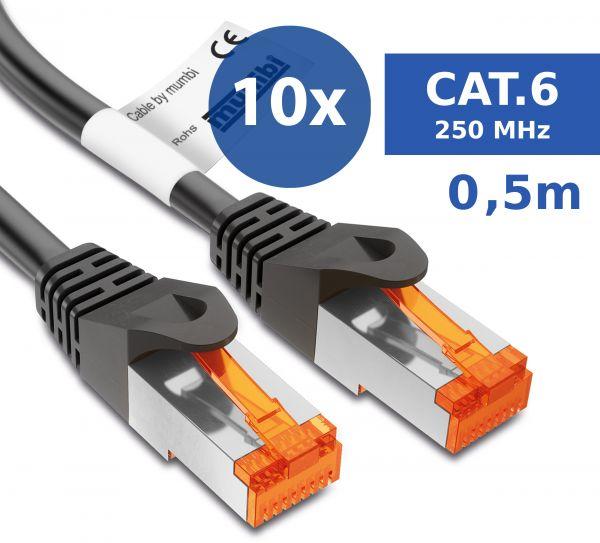 10er Set CAT 6 Ethernet Lan Netzwerkkabel 0,5 Meter Kabel in Schwarz