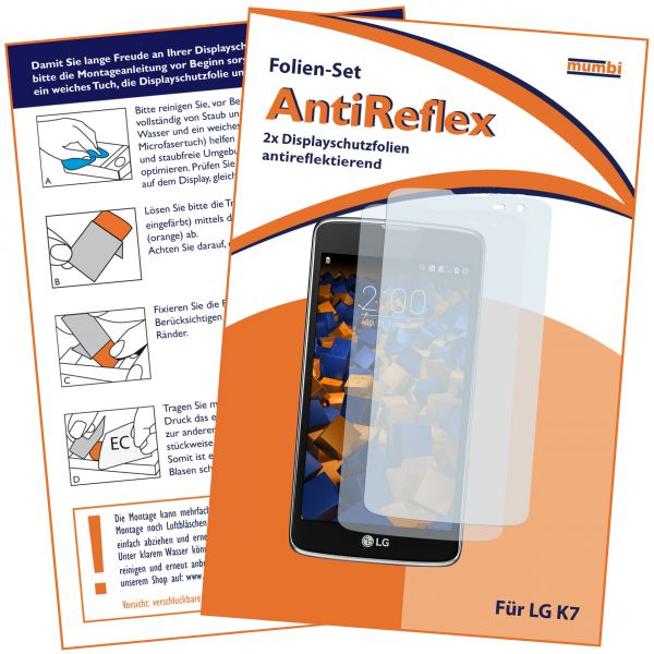 Displayschutzfolie 2 Stck. AntiReflex für LG K7