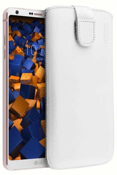 Leder Etui Tasche mit Ausziehlasche weiß für LG G6
