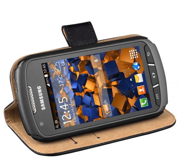 Bookstyle Ledertasche schwarz für Samsung Galaxy Xcover 2