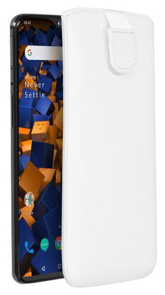 Leder Etui Tasche mit Ausziehlasche weiß für OnePlus 7
