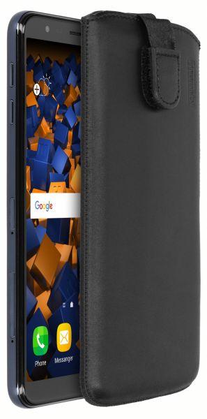 Leder Etui Tasche mit Ausziehlasche schwarz für Samsung Galaxy J4 Plus
