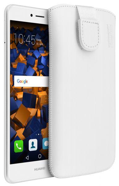 Leder Etui Tasche mit Ausziehlasche weiß für Huawei Y7