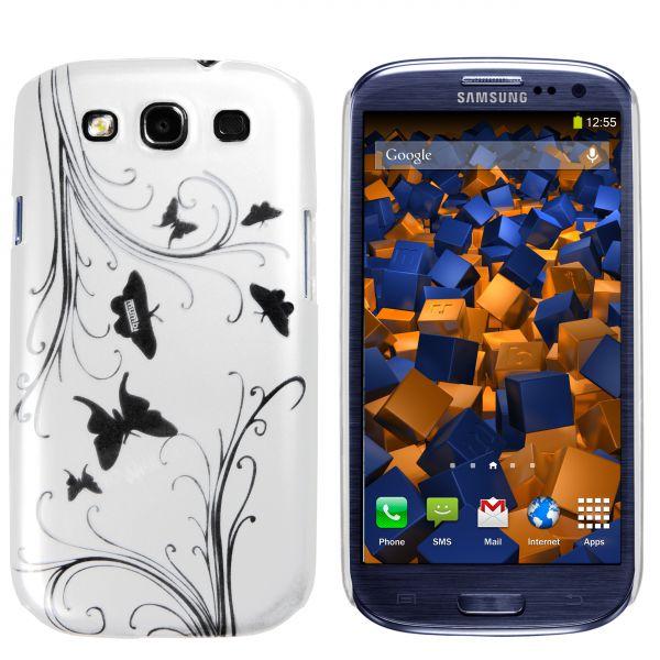 Hard Case Hülle weiß Schmetterling Blumen für Samsung Galaxy S3 / S3 Neo