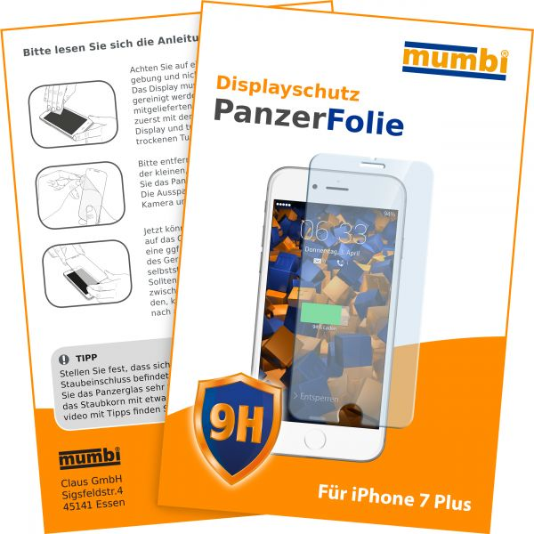 Panzerglasfolie Hartglas 9H für Apple iPhone 8 Plus / 7 Plus