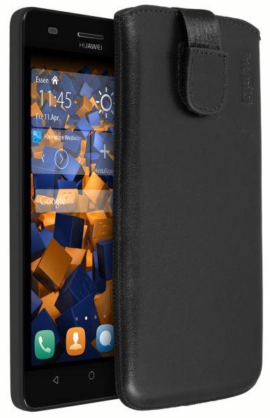 Leder Etui Tasche mit Ausziehlasche schwarz für Huawei G Play mini